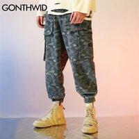 Gonthwid Bandana Paisley Padrão Imprimir Jogos Harem Cargo Calças Streetwear Hip Hop Harajuku Casual Calças Baggy Mens Calças 201109