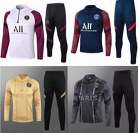 psg 2020 2021 kit adulto Jacket futebol treino definir Paris tracksuits 18 19 20 21 Mbappé LUCAS de futebol em casa kit paletó formação Training