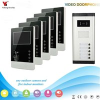 Téléphones de porte vidéo Yobang Security de 4,3 pouces appartements de 5 unités Kit de kit téléphone interphone entrée sonnette de vision nocturne