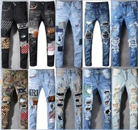 Yüksek Kaliteli Erkek Kot Pantolon Sıkıntılı Esneklik Kot Nakış İnce Yırtık Delik Şerit Ünlü Denim Erkekler Pantolon Jeans Büyük Boy 28-40