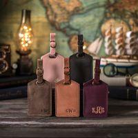 Gepäckanhänger Stempel Koffer Tasche Tag Hohe Qualität personalisierte benutzerdefinierte anfängliche Business Gegerbtes Lederreisen