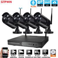 4CH 3.0MP Plug Inplay Audio CCTV Система беспроводной системы 1080P NVR 4 шт. 3.0MP IR Открытый P2P Wi-Fi IP CCTV Система наблюдения камеры видеонаблюдения