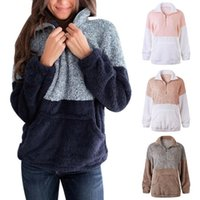 Women Fashion Pocket Zipper Blouse Woolen Coat Long Sleeve C...