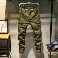 Мужские джинсы ClassDim мужские эластичные тощие джинсовые джинсовые хорошее качество хлопчатобумажная армия зеленые длинные моды мужские тонкие сплошные случаи