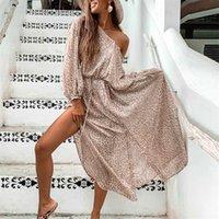 Ayualin manga comprida camisa vestidos para mulheres sexy lateral lateral leopardo imprimir vestidos boho vestido solto túnica vestidos vestidos t200914