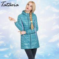 Women's Down & Parkas Tataria S-7XL Winter Long Coat Female Plus Size Ultra Light Warm Hoodie Jacket For Women White Duck
