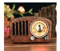 2020 Multimedia de madera Bluetooth Mano-Free Micphone altavoz iBOX D90 con Radio FM Reloj de alarma TF / USB Reproductor de MP3 Retro Caja de madera Bambú