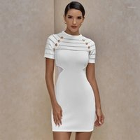 OCSTRADE NOUVELLE ARRIVÉE MESH INSÉRER BANDAGE Blanc 2021 Femmes d'été Femmes Sexy Bandage Robe Bullon Night Club Party1