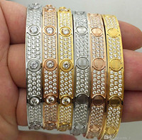 Titanium Fashion Luxury Luxury Diamonds Full Acero Inoxidable Para Hombre Diseñador Iced Out Pulseras Brazaletes Brazaletes Destornillador Pulsera