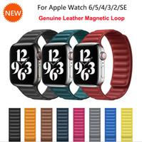 Lederschleife Strap für Apple Watch SE Series 6 Bands 42mm 44mm Genunie Lederarmband für IWATCH 5/4/3/2/1 38mm 40mm Magnetschleife