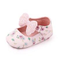 Первые ходунки весна осень рожденные девочка обувь милый лук печатный цветок принцесса мягкая единственная младенческая детская кроватка розовый