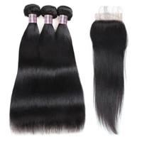 Хороший 8А Бразильский Индийский малазийский волос девственницы Sliky прямой 3шт с кружевом Закрытие Необработанные Наращивание волос для чернокожих женщин
