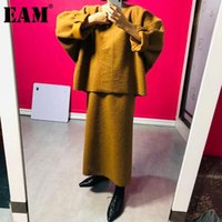 Kadın Eşofman [EAM] Yarım Vücut Etek Büyük Boy Iki Parça Suit Yuvarlak Boyun Uzun Kollu Gevşek Kadın Moda Gelgit Sonbahar Kış 2021 1dC4671