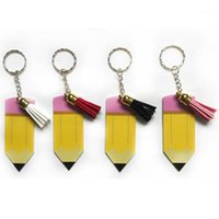 Portachiavi a matita acrilica con nappa decorazioni fibbia custom insegnante regalo multicolor matita ciondolare charms catena chiave per bambini regalo1