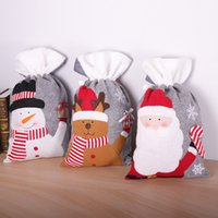 Принадлежности для Рождества серого войлока Нетканого Drawstring Рождественского подарка сумка Drawstring карманной Большого Рождество конфета мешок Dropshipping F9201