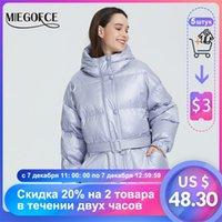 Miegofce Yeni Kış kadın Ceket Yüksek Kaliteli Parlak Renkler Yalıtımlı Kabarık Ceket Yaka Kapşonlu Parka Kemer Ile Kesim Kesim 201208