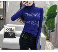 dolcevita delle donne europee di moda Maglie a manica lunga tunica bodycon tee strass patch lettere modello SMLXLXXL3XL
