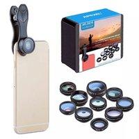 Lente de celular 10 em 1 kits telefone lente de câmera de peixes olho grande ângulo macro lente cpl 2x telefoto para iphone 12 11 pro
