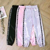 Pantaloni da donna Capris 2021 Donne Summer Big Pocket Satin Evidenzia Harem Pantaloni a nastro lucido Harajuku Pantaloni sciolti da donna1