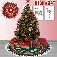 Decorações de Natal Vermelho / Verde Sala de Árvore Esteira 87cm borda de borda redonda decoração de decoração do ano do ano da casa