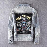 Harajuku Casual rocker GNR Stamp lavato distruggere dissolvenze Vintage blu indaco Giacca di jeans roccia Felpa Guns N Roses Streetwear