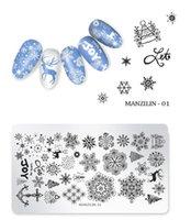 Nail flocon de neige Stamping Plaques de Noël de Noël Stamp Modèles Leopard image neige Impression Stencil outil