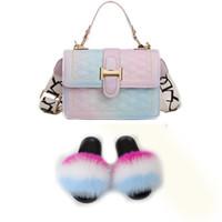 Kadın ayakkabı kürk slaytlar ve çanta, kadın ve çanta için kürklü sandalet eşleştirmek için çantalı gerçek kürk terlik takımları