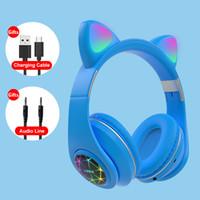 Красочные детские гарнитуры беспроводной светящегося мило LED Cat Ear Подушечки Девушки подарков Bluetooth Наушники HIFI Stereo Bass 3,5 мм разъем с микрофоном