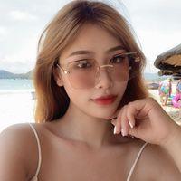 Солнцезащитные очки Cat Eye 2021 Имитация алмазные солнцезащитные очки для мужчин маленький стеклянный старинный горный хрусталь для женщин ретро