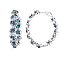Reifen Huggie Gz Zongfa Eleganter blendender Charme Modeschmuck Ohrringe Natürliche blaue Topaz Edelsteine 925 Sterling Silber Ohrring