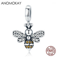 100% 925 plata esterlina blanca cz abeja encanto colgante aptitud pulsera collar S925 plateado perla para la joyería de bricolaje regalo de novia1