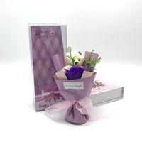 Einzelne lila Rose mit Geschenkkasten Originalität Multicolor Hochzeitszeremonie Valentinstag Geschenk Schöne Bärenseife Blume Heißer Verkauf 5QQ J2