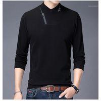 camisetas para hombre Stand de diseño cuello de manga larga paño grueso y suave camisetas con cremallera patrón de la letra ocasional de los hombres la ropa suelta más el tamaño