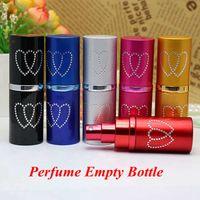 Frasco de Perfume recarregáveis Coração de viagem de alumínio Atomzier Garrafa de Spray óleos essenciais Perfume garrafa vazia portátil Pulverizador YFALS2204-1