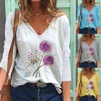 Chemise de chemisier à imprimé floral de mode Voler Col V-Col Tops Casual automne Hiver Tops Dames Femmes Femmes Manches Longues Blusas Pullover1