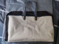 Mode Frauen PU-Leder Handtasche Große Einkaufstasche Leinwand Einkaufstasche GM MM Größe