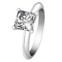 ピュアシルバー925 1ct NSCDシミュレートダイヤモンドリングプリンセスエンゲージメントソリティアリング18Kホワイトゴールドメッキ記念リングメスアメリカ株式