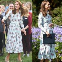 Kate Middleton Runway Hohe Qualität Frühling Herbst Neue Frauen Mode Parteiarbeit Vintage Elegante Chic Blumendruck Chiffon Kleid 201204