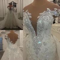 Modestos vestidos de boda de la sirena con falda desmontable brillantes cristales Lentejuelas Cuentas Apliques Sheer cuello largo Backless Vestidos de novia