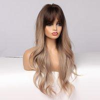 Perruques synthétiques résistantes à la chaleur longue ondulée ombre ombre brun à la lumière blonde blonde perruques naturelles avec une frange pour femme afro cosplay cosplay cheveux synthétiques perruques