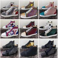 2021 Donne Donne Scarpe casual Designer Progettista Bottom Schizzi con borchie di modo Sneakers Nero Black Red Bianco Pelle Stivali alti con scatola