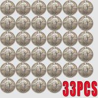 33PCS USA Monete in piedi LIBERTY Quarter Copia 24mm Coin Art Collectibles