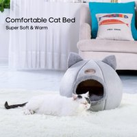 Warm Cat Bed Winter Soft Comfortable Pet Nest Indoor Semi-Enclosed Pet Cat Dog Sleeping Tent House Dog Bed Dog House Pet Bed 201111