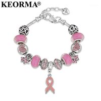 KEORMA Breast Cancer Awareness Pink Ribbon Pendant Heart Sna...