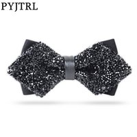 PYJTRL Fashion Luxury Diamond Bow Tie Glitter Crystal Rhinestone Men Tuxedo Bow Tie Triangle Adjustable for Wedding Party gift 201027