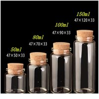 Glass Bottles With Cork Crafts Bottles Jars Weding Gift 50ml 80ml 100ml 150ml Empty Jars Containers Bottles 24pcs Free jllABL