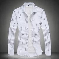Erkekler Gömlekler Uzun Kol Yaz Baskı Gömlek 2020 Erkek Gömlekler Günlük Moda Beyaz Mavi Plus Size M 4XL 5XL 6XL 7XL # 3013
