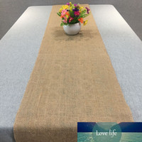 Vintage Natural Burlap Jute Linen Table Runner for Wedding B...