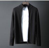 Sweaters pour hommes Minglu 100% coton Pull Mâle Collier Coller Solide Couleur Hurd Hiver Plus Taille 6XL Noir Slim Fit Hommes