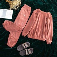Ropa de dormir de las mujeres Caiyier Mujeres Pijamas Set Soild Flannel manga larga gruesa Cálido Cuerpo Fleece Nightgown Girl Causal Winter Pyjamas1